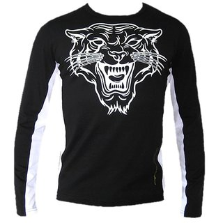Topmodisches Langarm-T-Shirt FancyBeast Tiger schwarz FB187 S - XXL